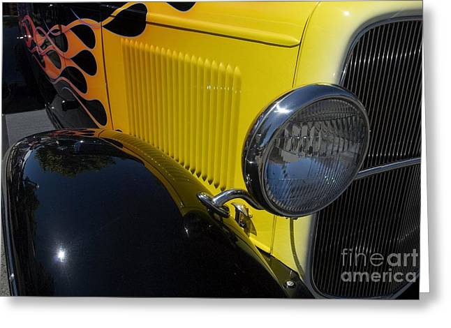 Yellow Flame Vintage Car Greeting Card