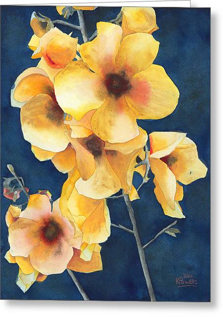 Yellow Flowers Greeting Card by Ken Powers