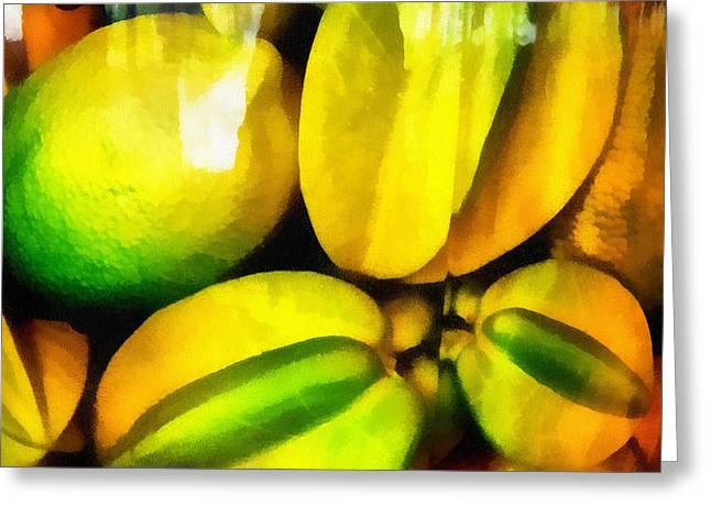 Yellow Fruits. Lemon And Carambola. Impressionism Greeting Card