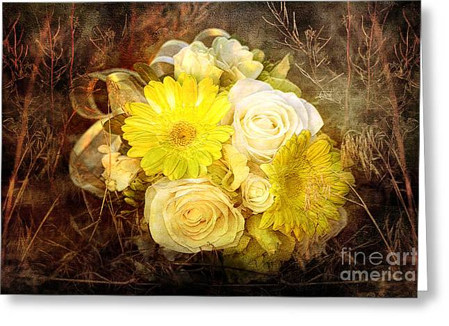 Yellow Gerbera Daisy And White Rose Bridal Bouquet In Nature Setting Greeting Card by Cindy Singleton
