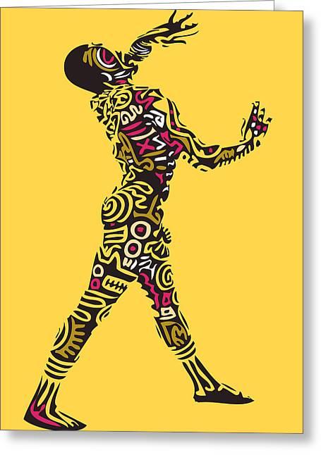 Yellow Haring Greeting Card by Kamoni Khem