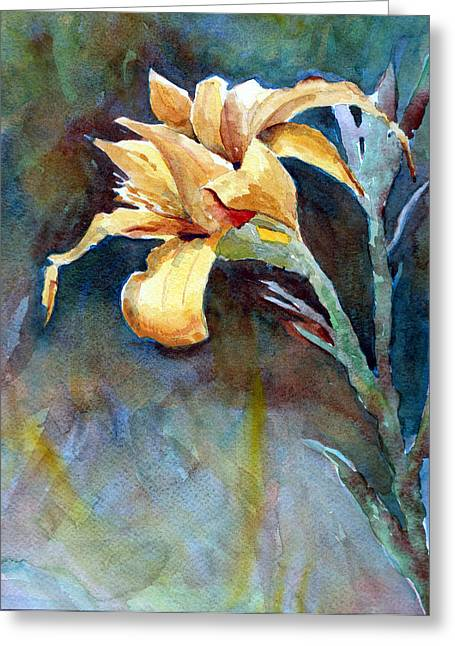 Yellow Iris Greeting Card by Alan Smith