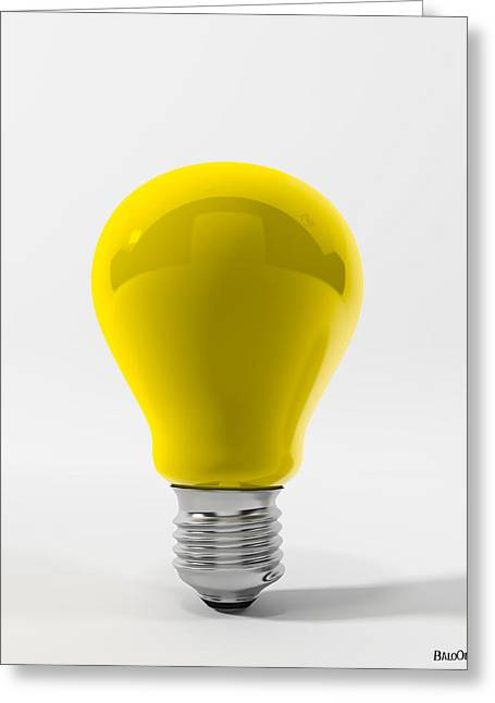 Yellow Lamp Greeting Card by BaloOm Studios