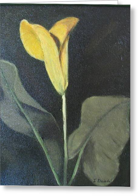 Yellow Lily Greeting Card by Iris Nazario Dziadul