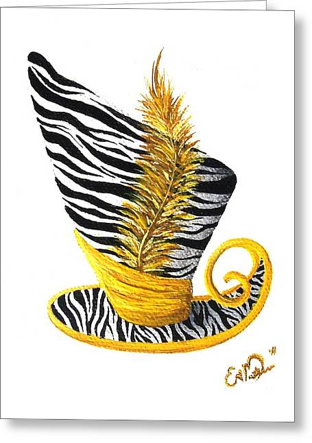 Greeting Card featuring the painting Yellow Magic Hat by Oddball Art Co by Lizzy Love
