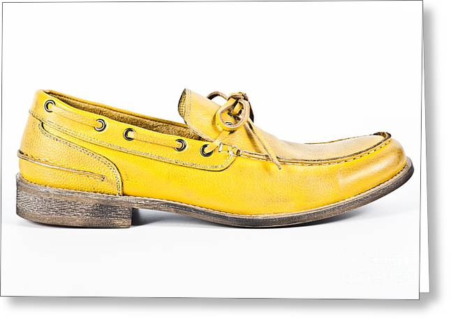 yellow Mens shoe Greeting Card by Chavalit Kamolthamanon