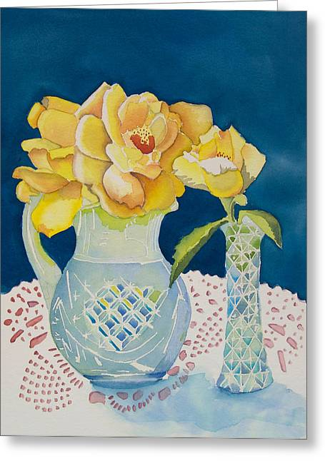 Yellow On Blue Greeting Card by Jeanne Hall