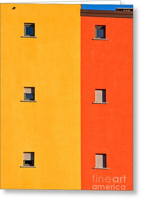Yellow Orange Blue With Windows Greeting Card