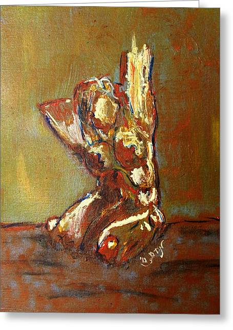 Yellow Orange Expressionist Nude Female Figure Statue Coming Alive Bold Anatomy Painting Greeting Card