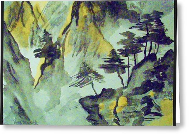 Yellow Orient Mountains Greeting Card by Peggy Leyva Conley