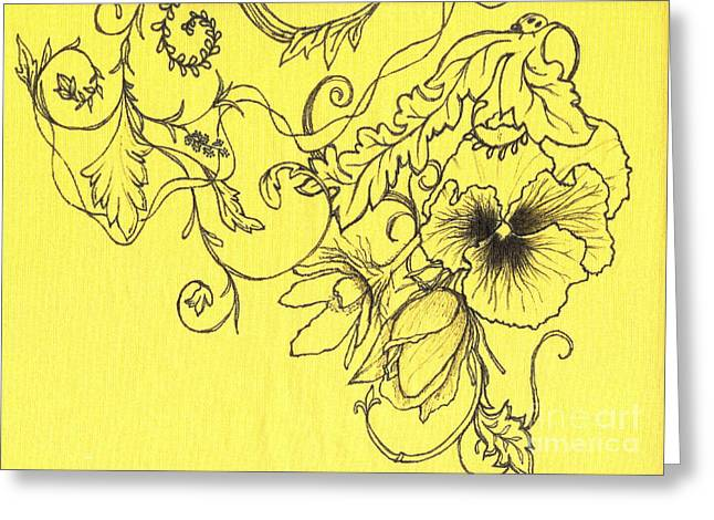 Yellow Pansy And Ladybug Greeting Card