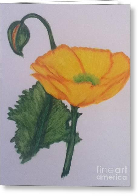 Yellow Poppy Greeting Card by Berta Barocio-Sullivan