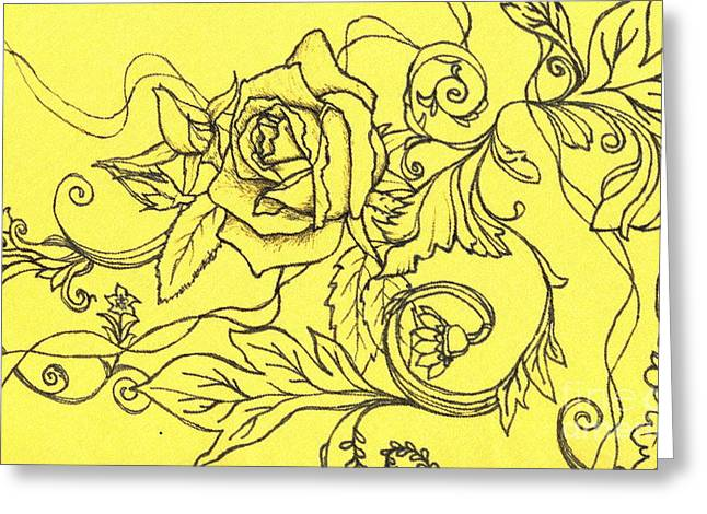 Yellow Rose And Ladybug Greeting Card