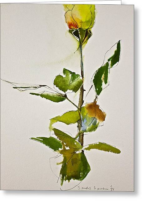 Yellow Rose-posthumously Presented Paintings Of Sachi Spohn  Greeting Card
