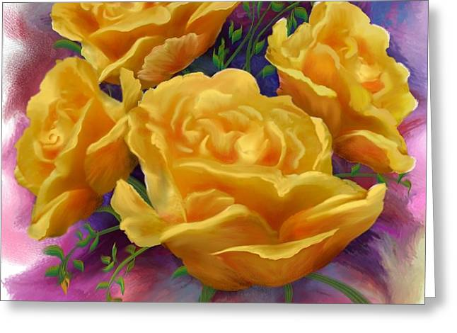 Yellow Roses Floral Art Greeting Card by Judy Filarecki