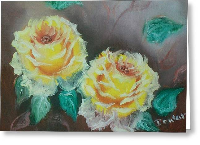 Greeting Card featuring the painting Yellow Roses by Raymond Doward