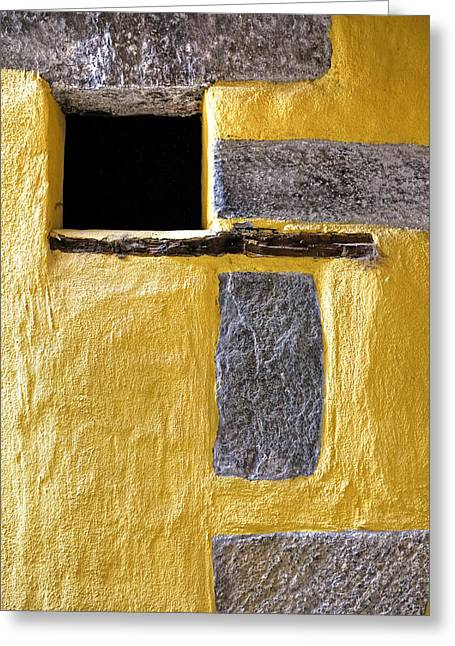 Yellow Stone Wall Greeting Card by Joana Kruse