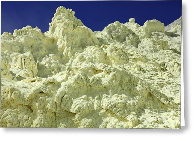 Yellow Sulphur Deposits Inside Crater Greeting Card by Richard Roscoe