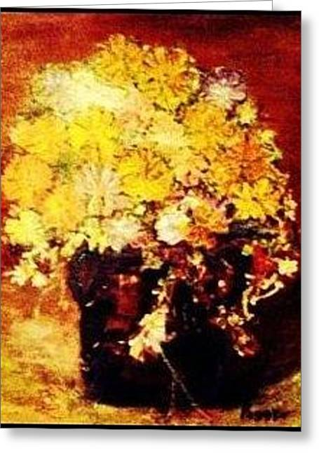 Yellow Sun Flowers Greeting Card by Peggy Leyva Conley