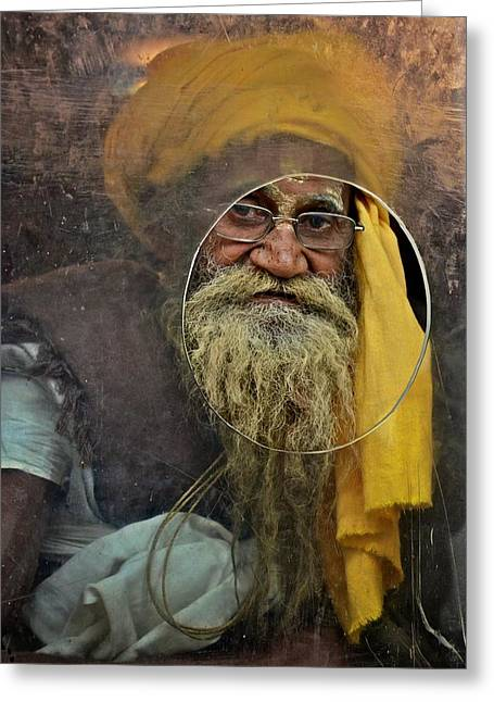 Yellow Turban At The Window Greeting Card by Valerie Rosen