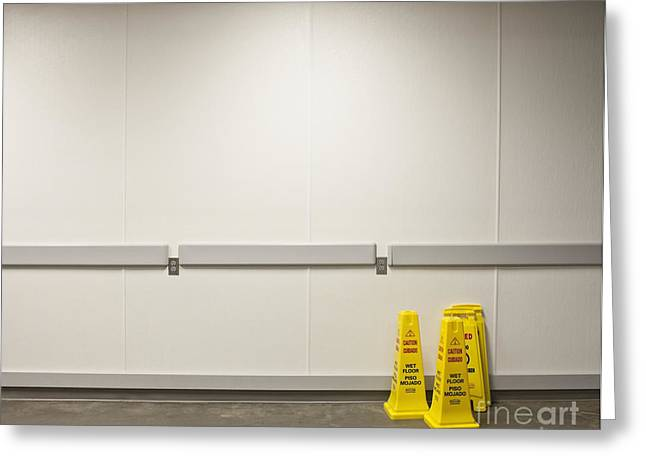 Yellow Wet Floor Signs Greeting Card by Jetta Productions, Inc