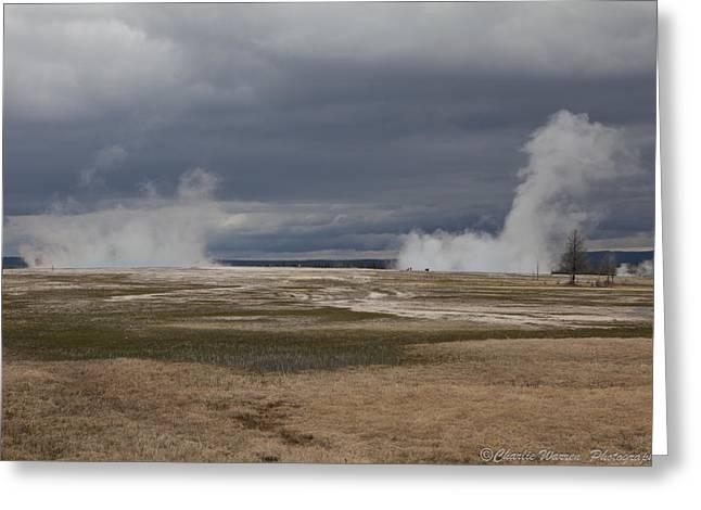 Yellowstone Geysers2 Greeting Card by Charles Warren