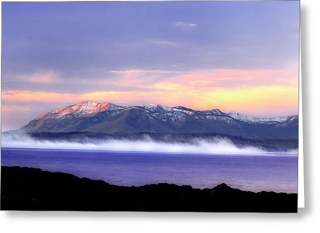 Yellowstone Lake Sunrise Greeting Card by Tony Gayhart