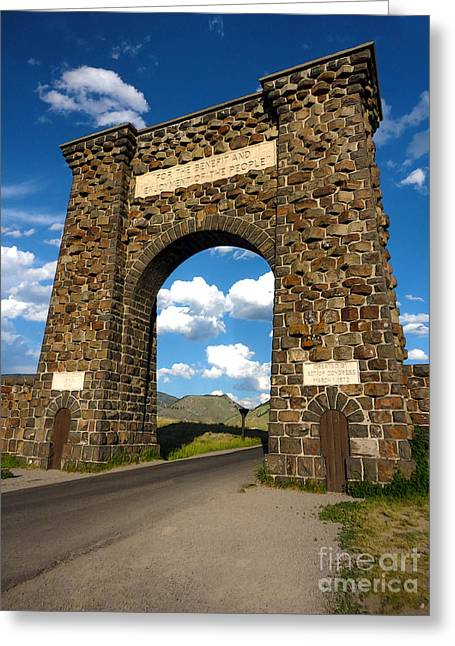 Yellowstone National Park Gate Greeting Card by Gregory Dyer