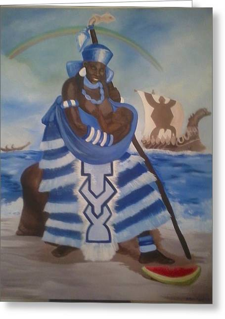 Yemaya - Mother Of The Ocean Greeting Card by Sula janet Evans