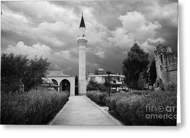 yenicami mosque with the remains of the old gothic converted church in nicosia TRNC  Greeting Card by Joe Fox