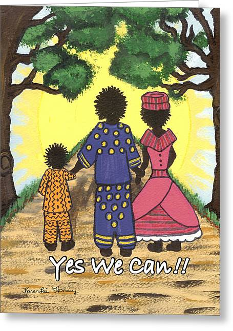 Yes We Can Greeting Card by Karen-Lee