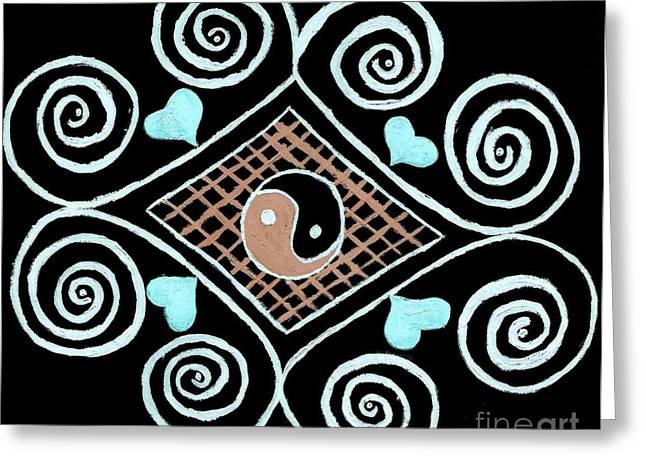 Yin Yang Swirls On Black Greeting Card by Jeannie Atwater Jordan Allen