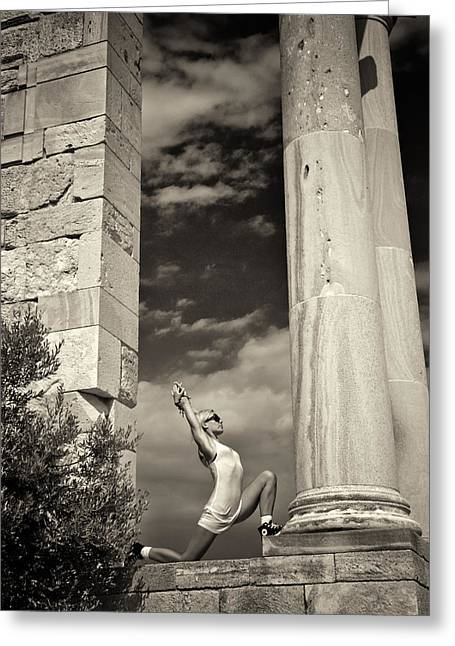 Yoga At Apollo Greeting Card by Stelios Kleanthous
