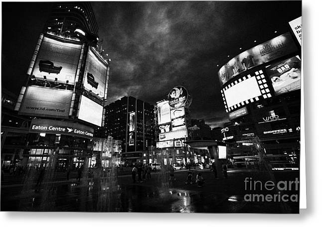Yonge-dundas Square And The Eaton Centre At Night Toronto Ontario Canada Greeting Card by Joe Fox