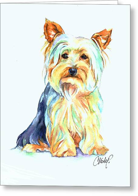 Yorkie Dog Portrait Greeting Card