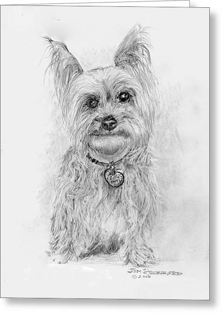 Greeting Card featuring the drawing Yorkshire Terrier by Jim Hubbard
