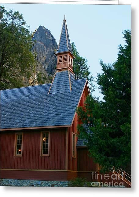 Yosemite Chapel Greeting Card by Henrik Lehnerer