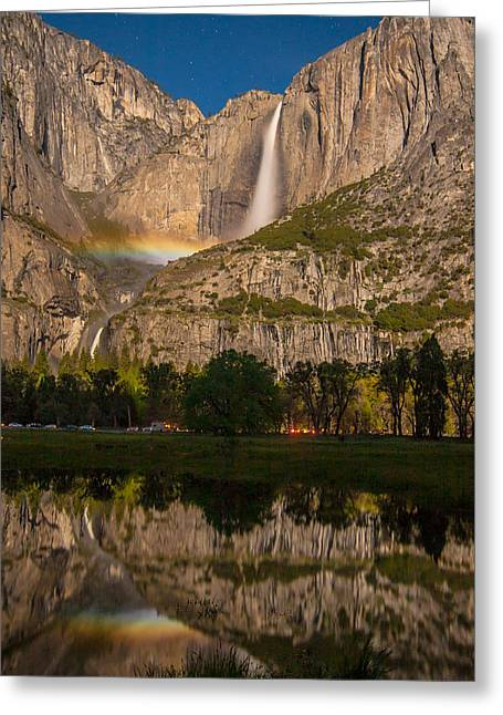 Yosemite Falls Moonbow Reflection Greeting Card by Marc Crumpler
