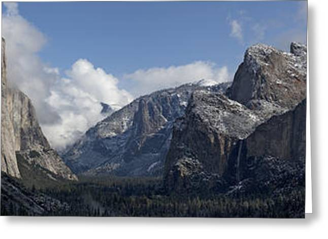 Yosemite Valley Panoramic From Tunnel View Greeting Card by Joseph Wilson