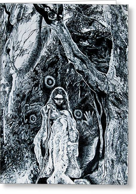 Young Aboriginal Woman And River Red Gum Greeting Card by Helen Duley