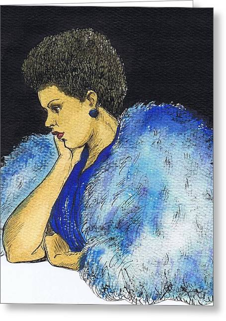 Young Billie Holiday Greeting Card by Mel Thompson