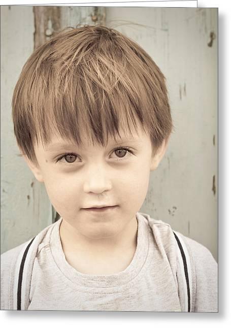 Young Boy Greeting Card by Tom Gowanlock