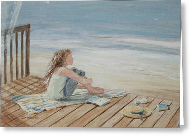 Young Christina By The Beach Greeting Card by Tina Obrien