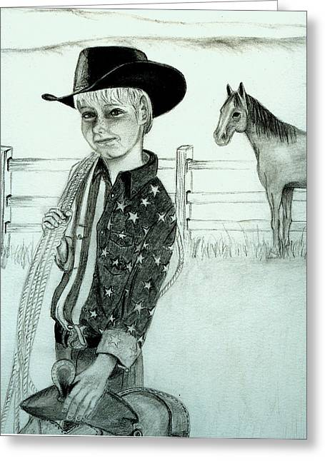 Young Cowboy Greeting Card by Carolyn Ardolino