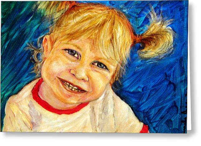 Greeting Card featuring the pastel Young Girl 2 by Amanda Dinan
