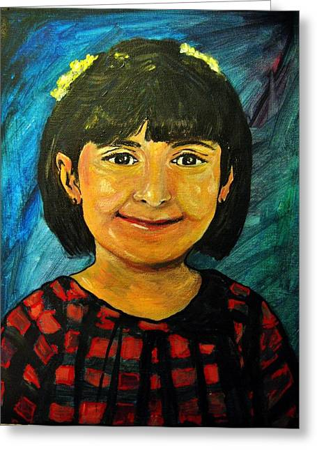 Greeting Card featuring the pastel Young Girl 4 by Amanda Dinan