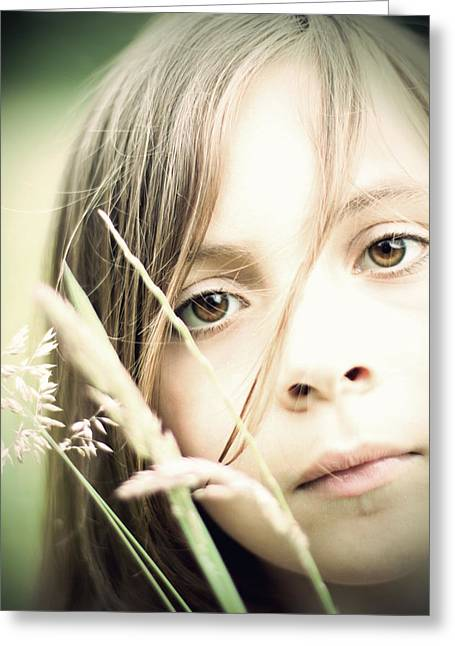 Young Girl In Field Of Grasses Greeting Card
