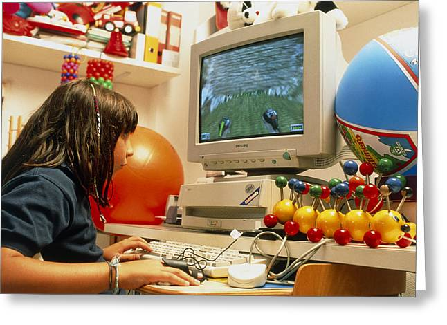 Young Girl Using A Brain-activated Computer System Greeting Card