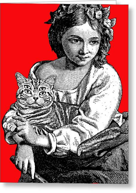 Young Girl With Cat Greeting Card