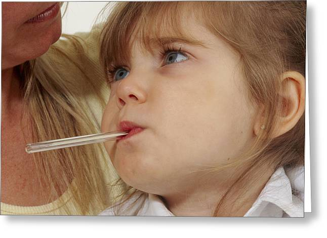 Young Girl With Fever Has Oral Temperature Taken Greeting Card